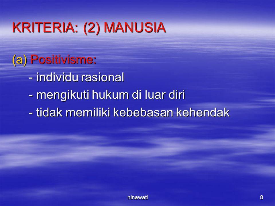 KRITERIA: (2) MANUSIA Positivisme: - individu rasional
