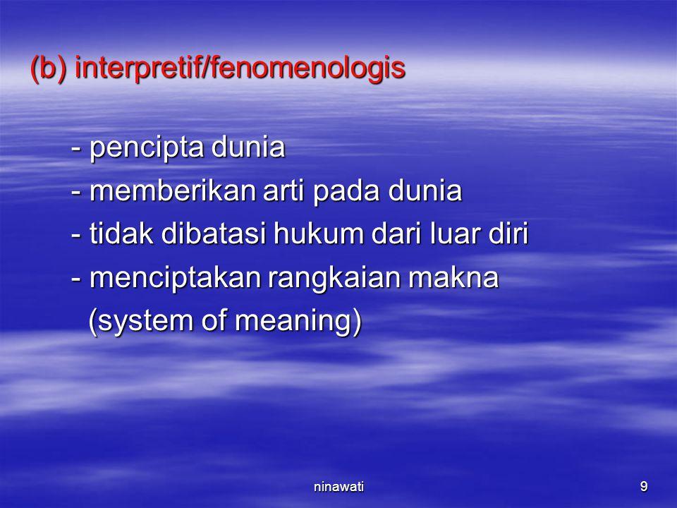 (b) interpretif/fenomenologis