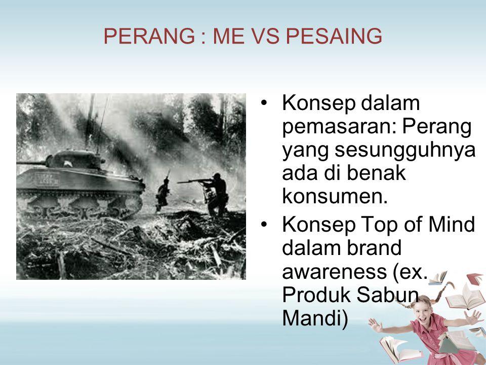 PERANG : ME VS PESAING Konsep dalam pemasaran: Perang yang sesungguhnya ada di benak konsumen.