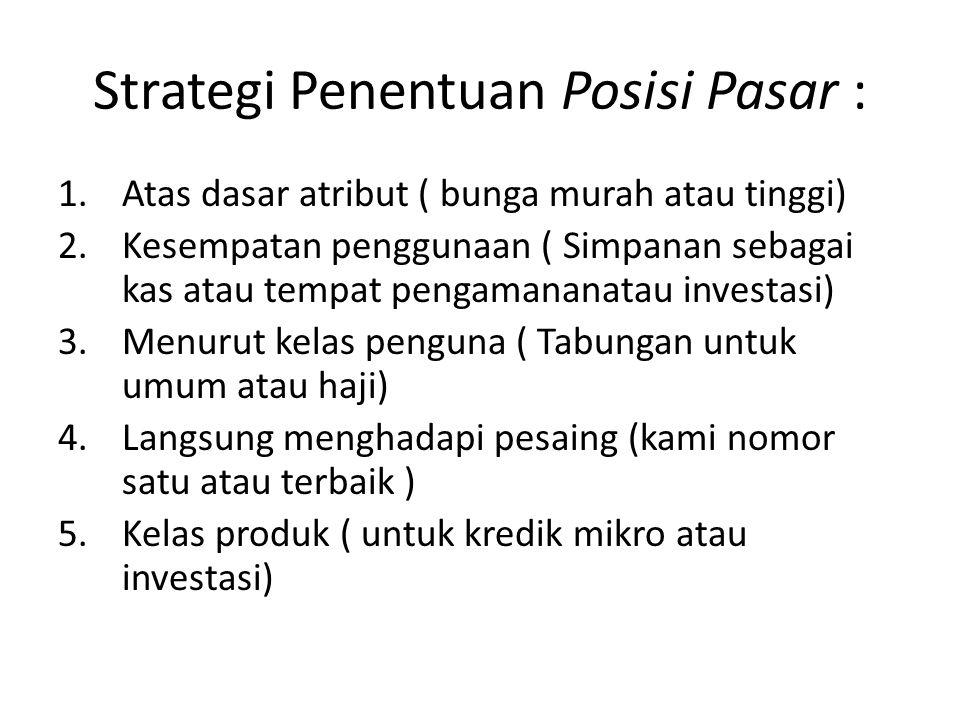Strategi Penentuan Posisi Pasar :
