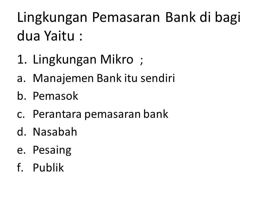 Lingkungan Pemasaran Bank di bagi dua Yaitu :