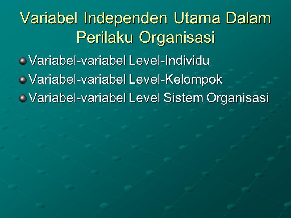 Variabel Independen Utama Dalam Perilaku Organisasi