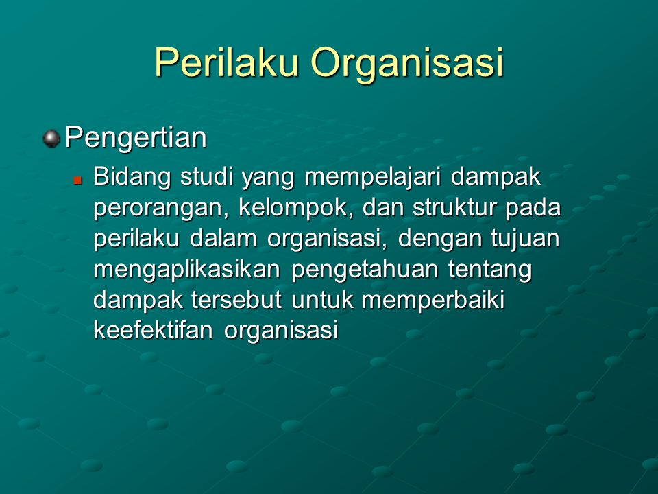 Perilaku Organisasi Pengertian