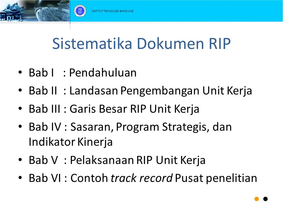 Sistematika Dokumen RIP