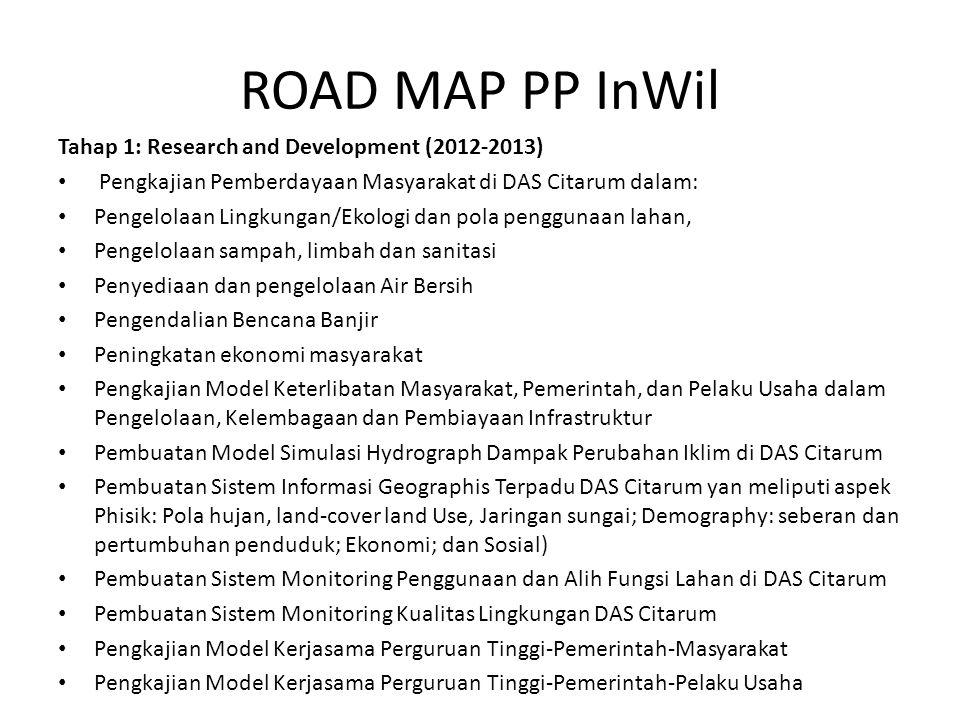 ROAD MAP PP InWil Tahap 1: Research and Development (2012-2013)