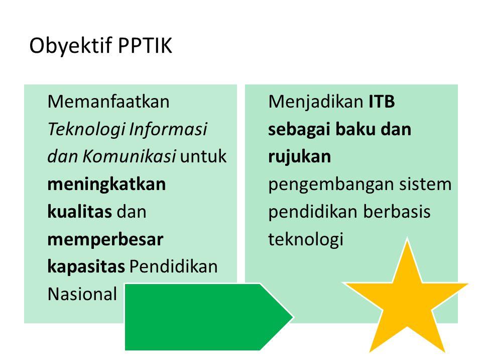 Obyektif PPTIK Memanfaatkan Teknologi Informasi dan Komunikasi untuk meningkatkan kualitas dan memperbesar kapasitas Pendidikan Nasional.