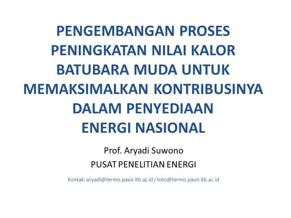 PENGEMBANGAN PROSES PENINGKATAN NILAI KALOR BATUBARA MUDA UNTUK MEMAKSIMALKAN KONTRIBUSINYA DALAM PENYEDIAAN ENERGI NASIONAL