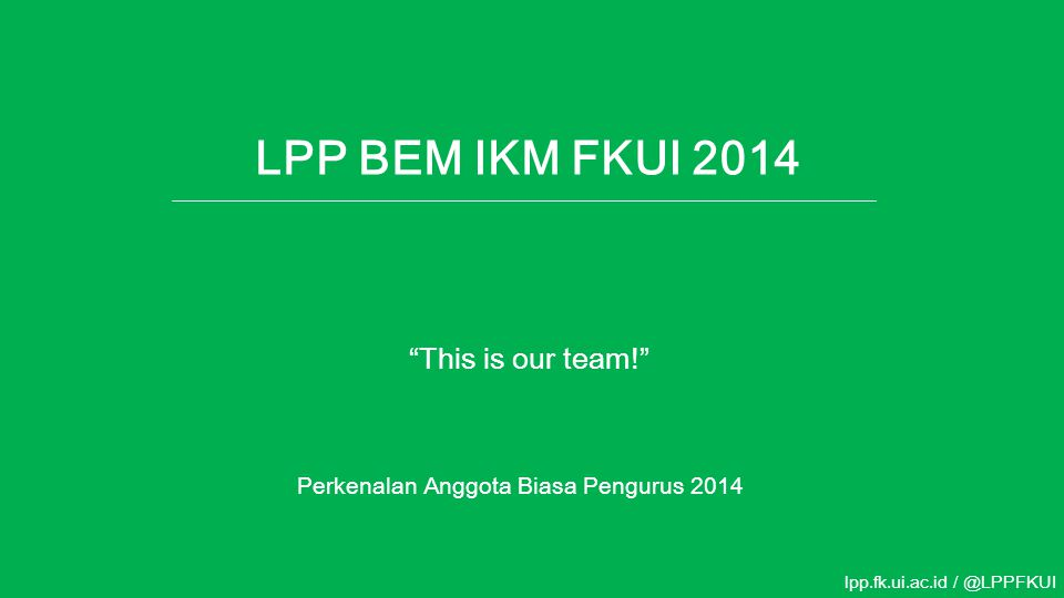 LPP BEM IKM FKUI 2014 This is our team!