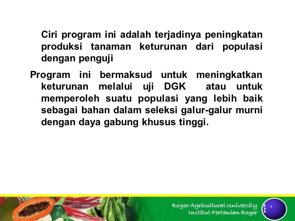 Ciri program ini adalah terjadinya peningkatan produksi tanaman keturunan dari populasi dengan penguji