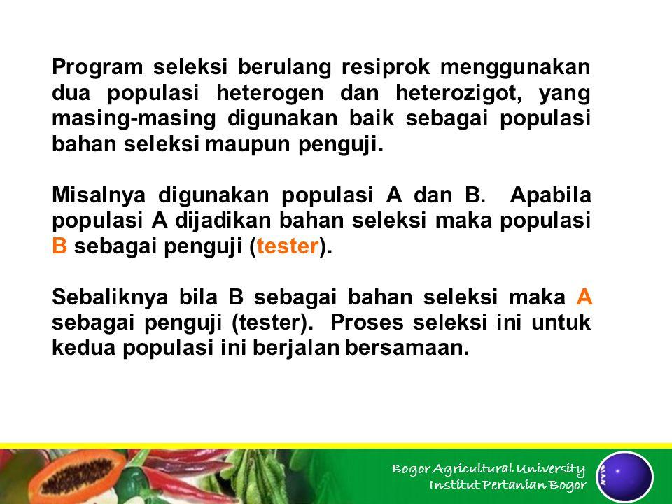 Program seleksi berulang resiprok menggunakan dua populasi heterogen dan heterozigot, yang masing-masing digunakan baik sebagai populasi bahan seleksi maupun penguji.