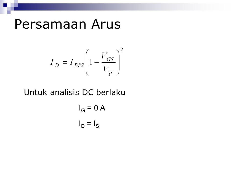 Persamaan Arus Untuk analisis DC berlaku IG = 0 A ID = IS