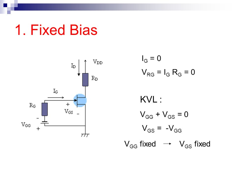 1. Fixed Bias KVL : IG = 0 VRG = IG RG = 0 VGG + VGS = 0 VGS = -VGG