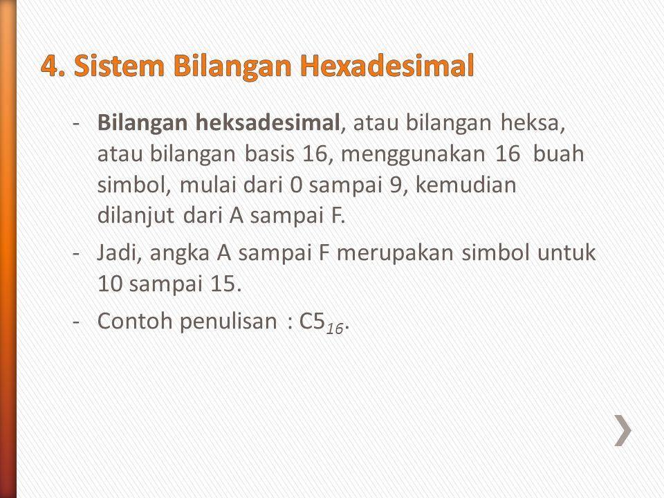 4. Sistem Bilangan Hexadesimal
