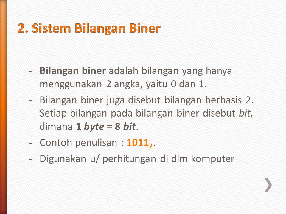2. Sistem Bilangan Biner Bilangan biner adalah bilangan yang hanya menggunakan 2 angka, yaitu 0 dan 1.