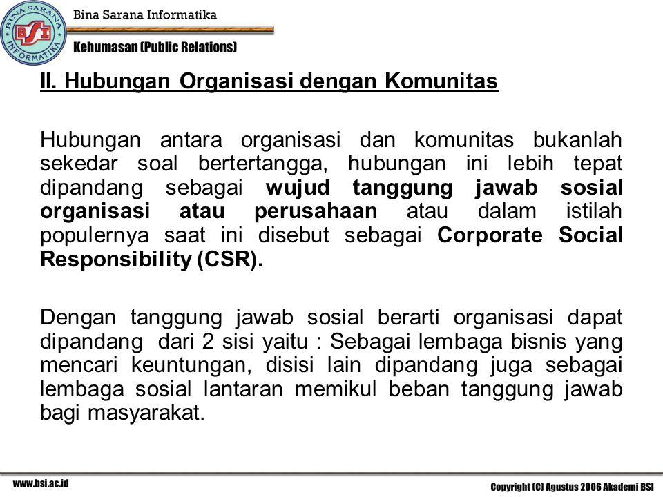 II. Hubungan Organisasi dengan Komunitas
