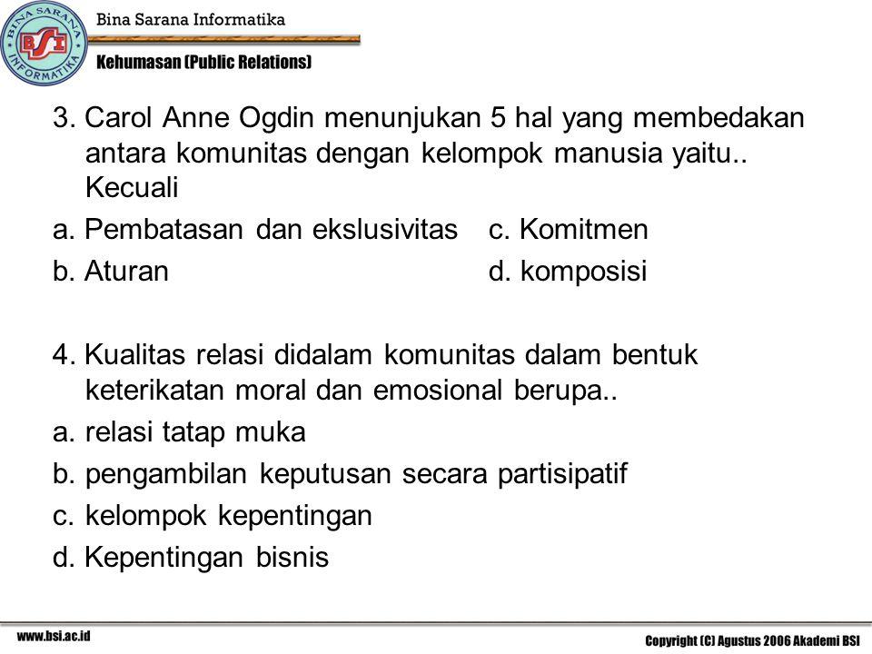 3. Carol Anne Ogdin menunjukan 5 hal yang membedakan antara komunitas dengan kelompok manusia yaitu.. Kecuali