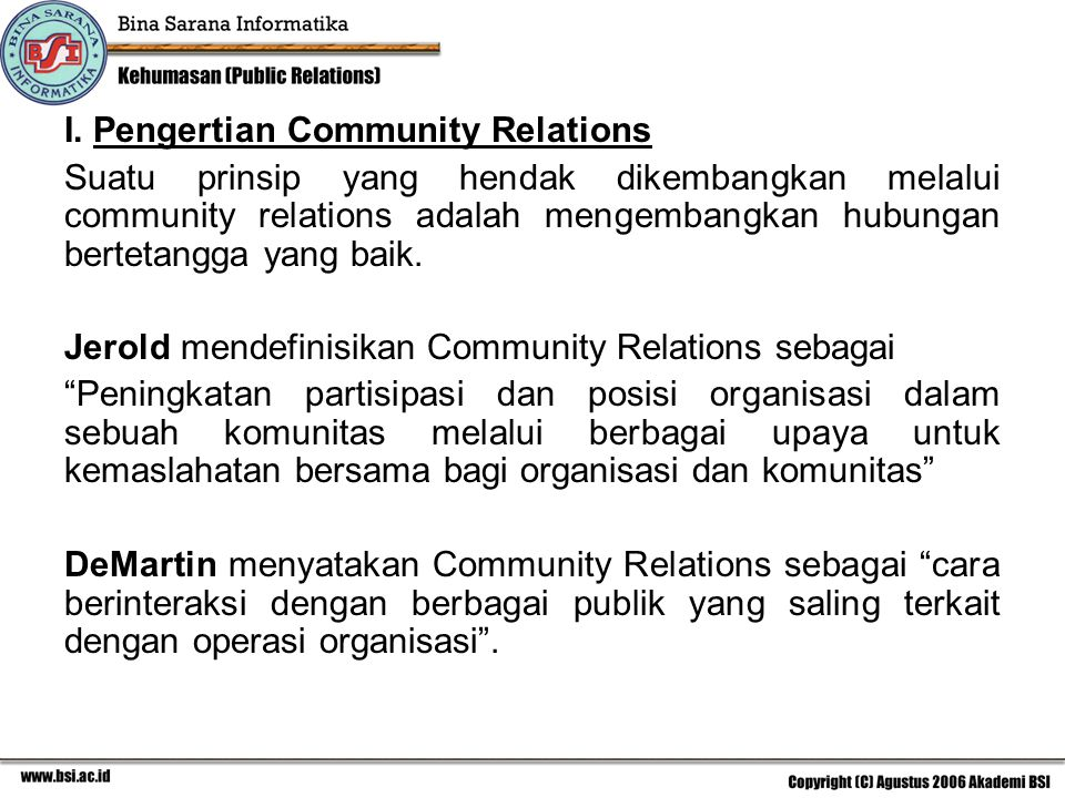 I. Pengertian Community Relations