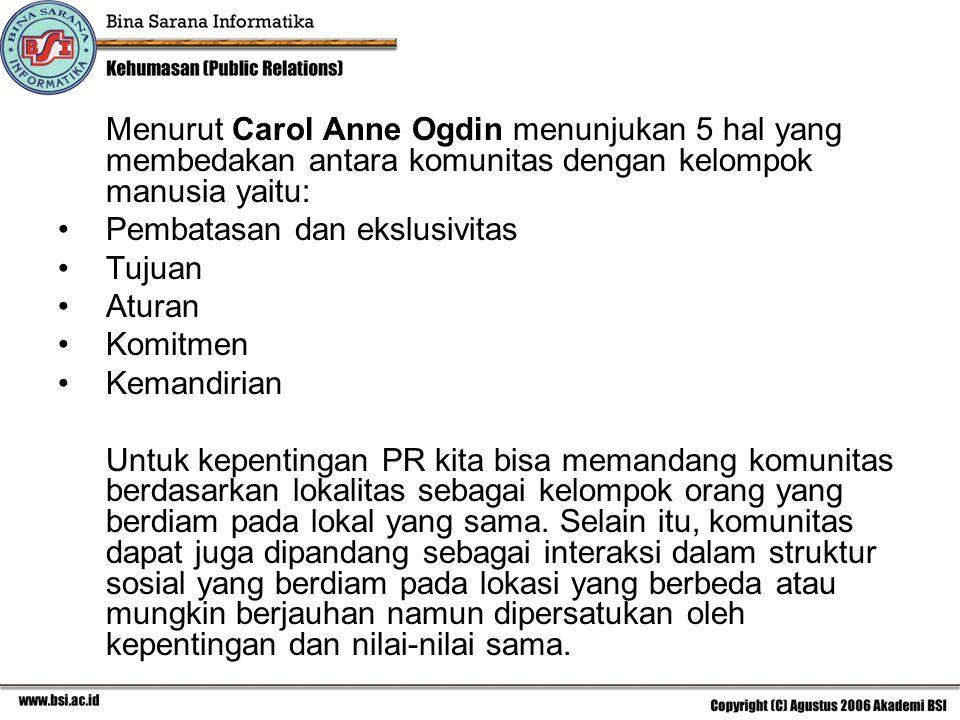 Menurut Carol Anne Ogdin menunjukan 5 hal yang membedakan antara komunitas dengan kelompok manusia yaitu: