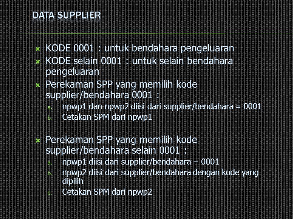 DATA SUPPLIER KODE 0001 : untuk bendahara pengeluaran