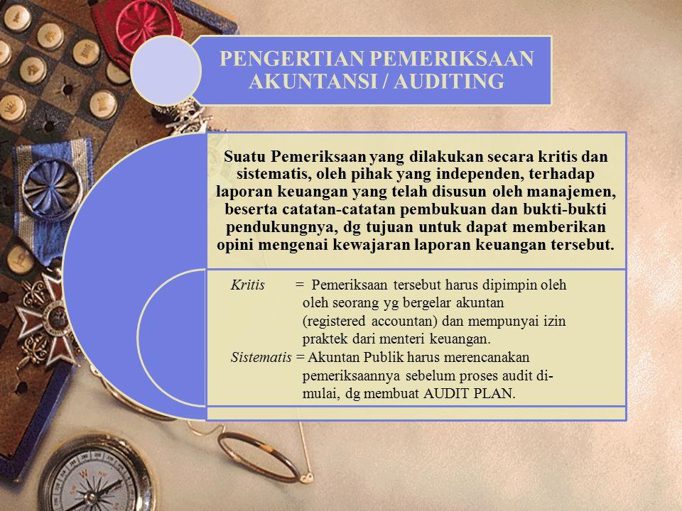 PENGERTIAN PEMERIKSAAN AKUNTANSI / AUDITING