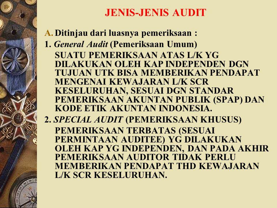 JENIS-JENIS AUDIT Ditinjau dari luasnya pemeriksaan :