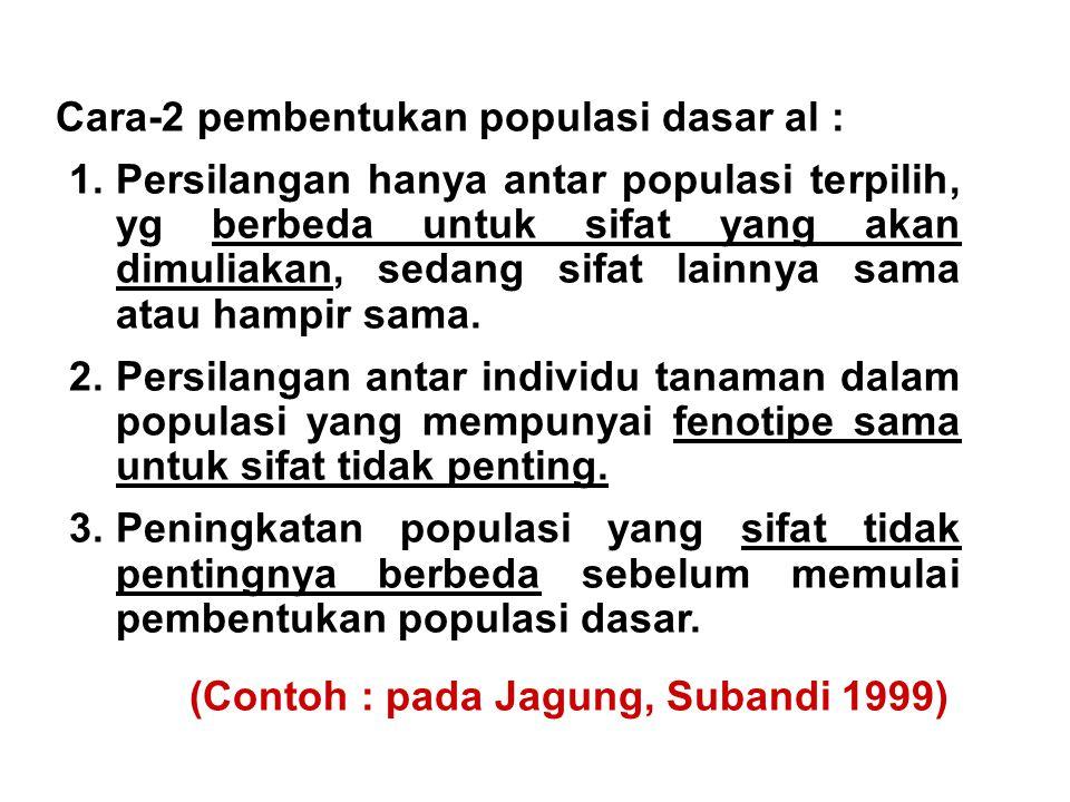 Cara-2 pembentukan populasi dasar al :