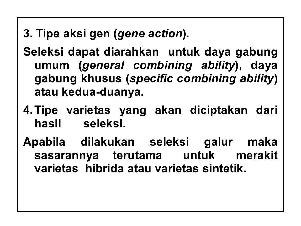 3. Tipe aksi gen (gene action).