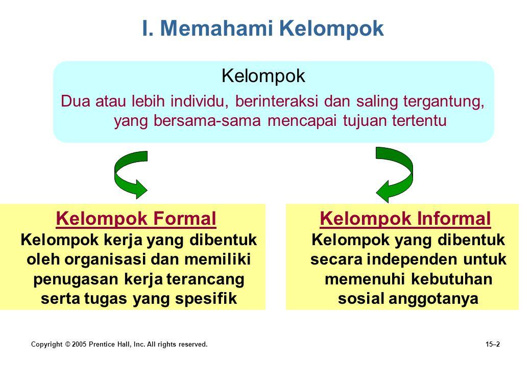 I. Memahami Kelompok Kelompok Kelompok Formal Kelompok Informal