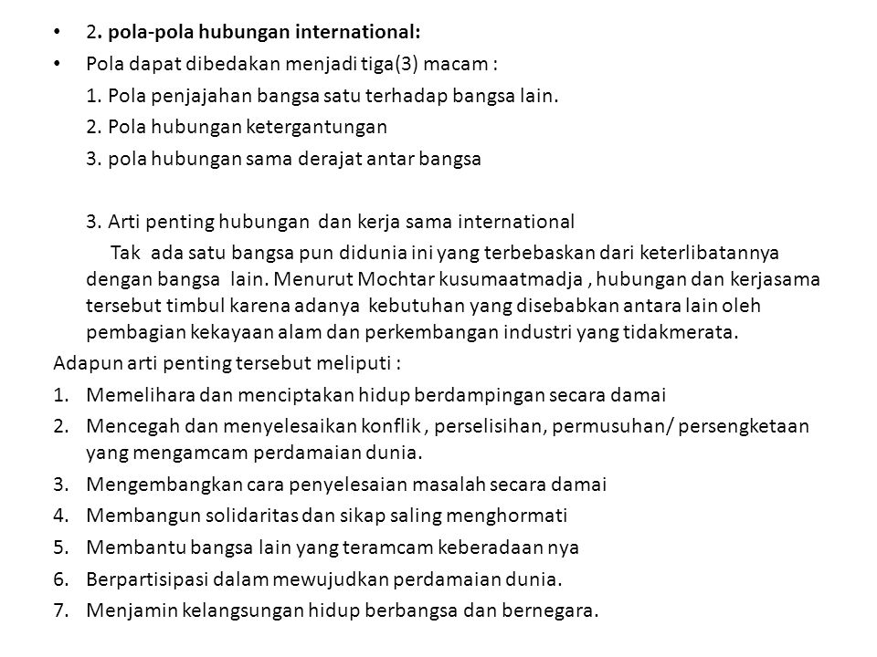2. pola-pola hubungan international: