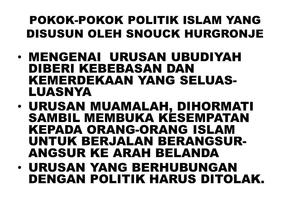 POKOK-POKOK POLITIK ISLAM YANG DISUSUN OLEH SNOUCK HURGRONJE