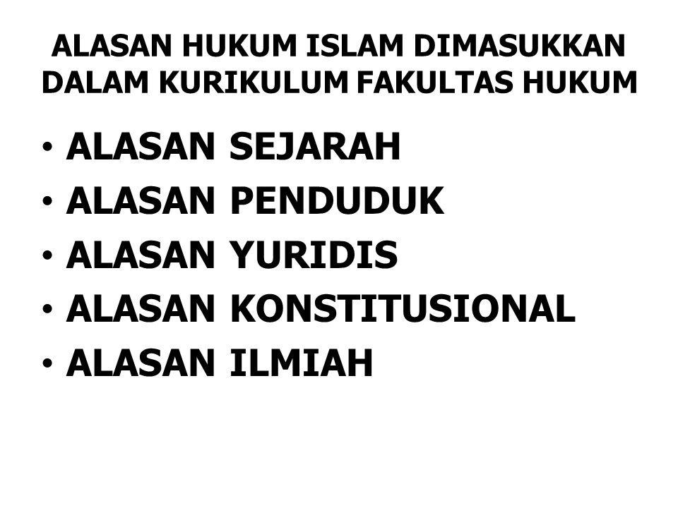 ALASAN HUKUM ISLAM DIMASUKKAN DALAM KURIKULUM FAKULTAS HUKUM