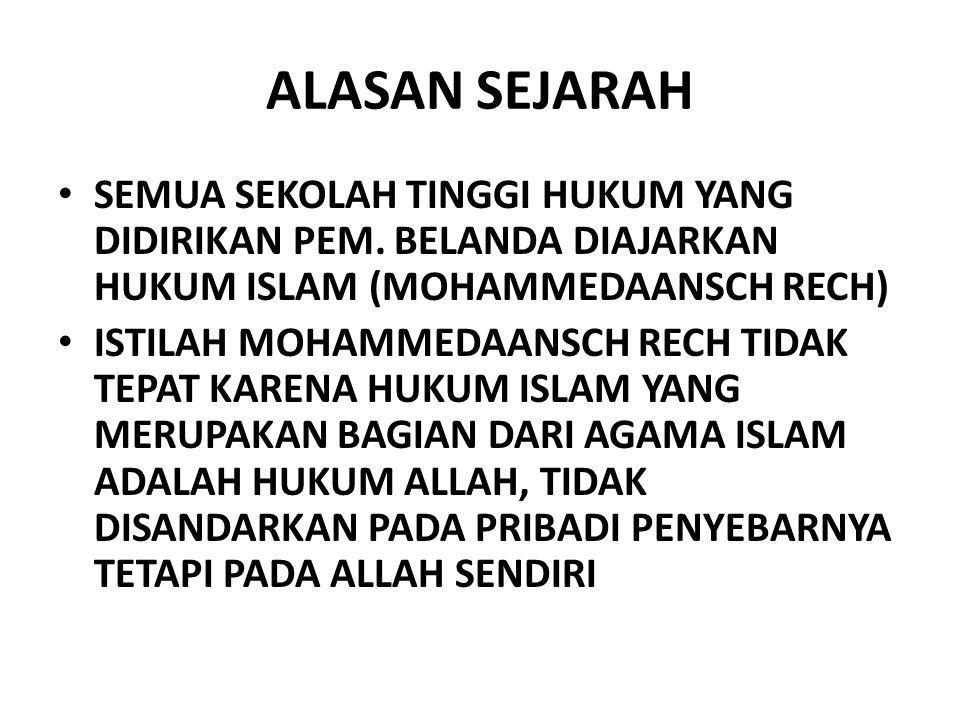 ALASAN SEJARAH SEMUA SEKOLAH TINGGI HUKUM YANG DIDIRIKAN PEM. BELANDA DIAJARKAN HUKUM ISLAM (MOHAMMEDAANSCH RECH)