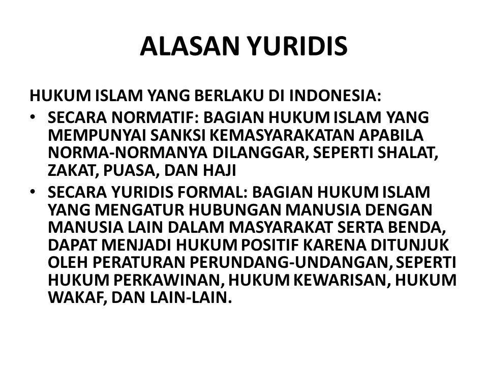 ALASAN YURIDIS HUKUM ISLAM YANG BERLAKU DI INDONESIA: