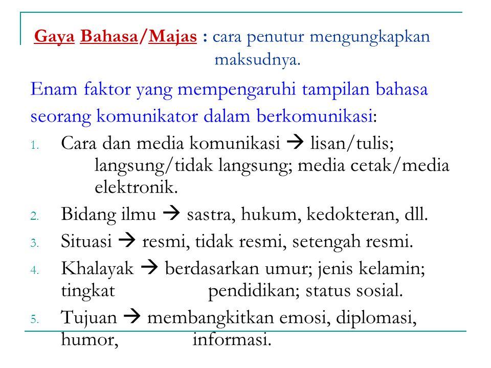 Gaya Bahasa/Majas : cara penutur mengungkapkan maksudnya.