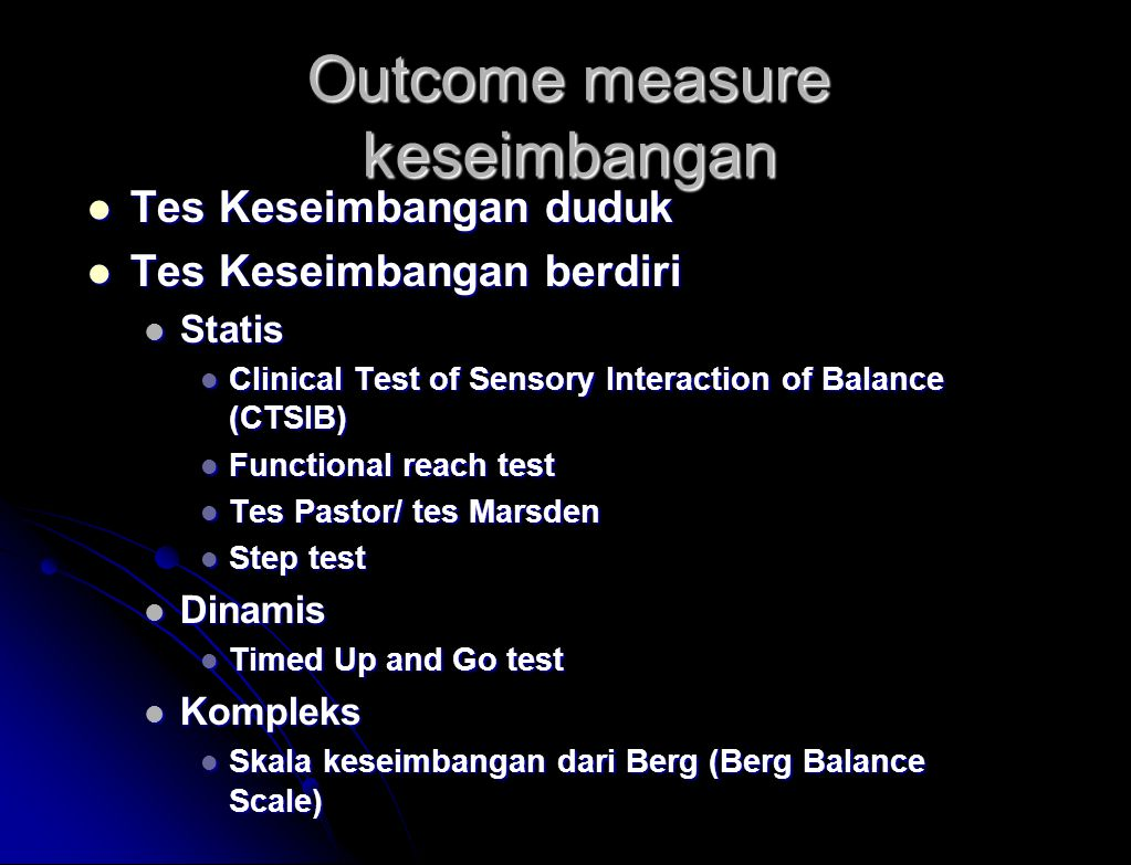 Outcome measure keseimbangan