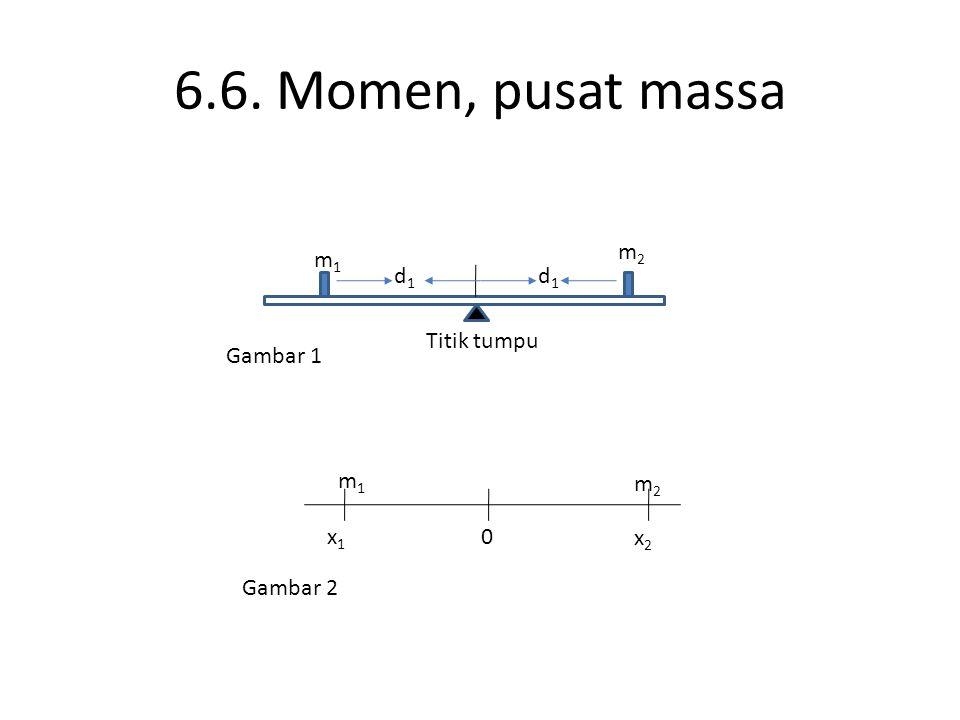 6.6. Momen, pusat massa m2 m1 d1 d1 Titik tumpu Gambar 1 m1 m2 x1 x2