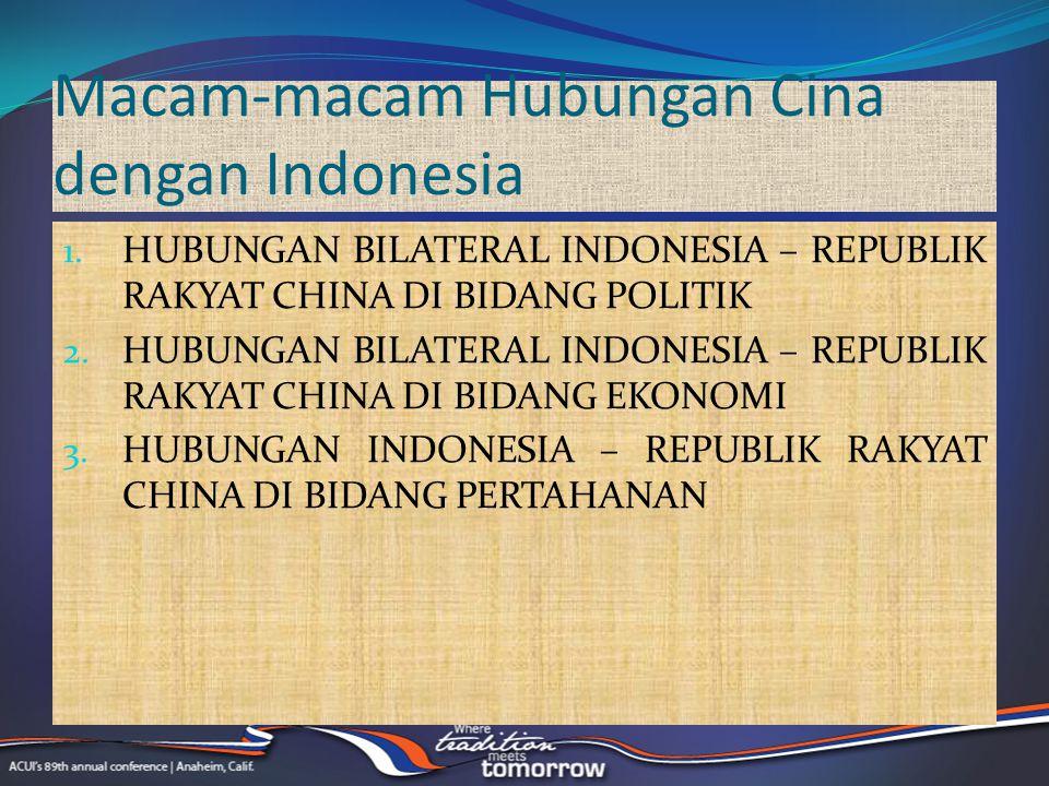 Macam-macam Hubungan Cina dengan Indonesia