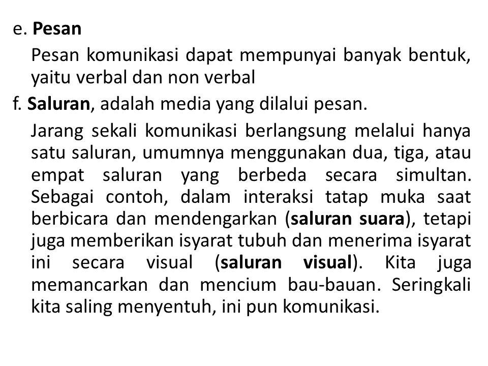 e. Pesan Pesan komunikasi dapat mempunyai banyak bentuk, yaitu verbal dan non verbal f.