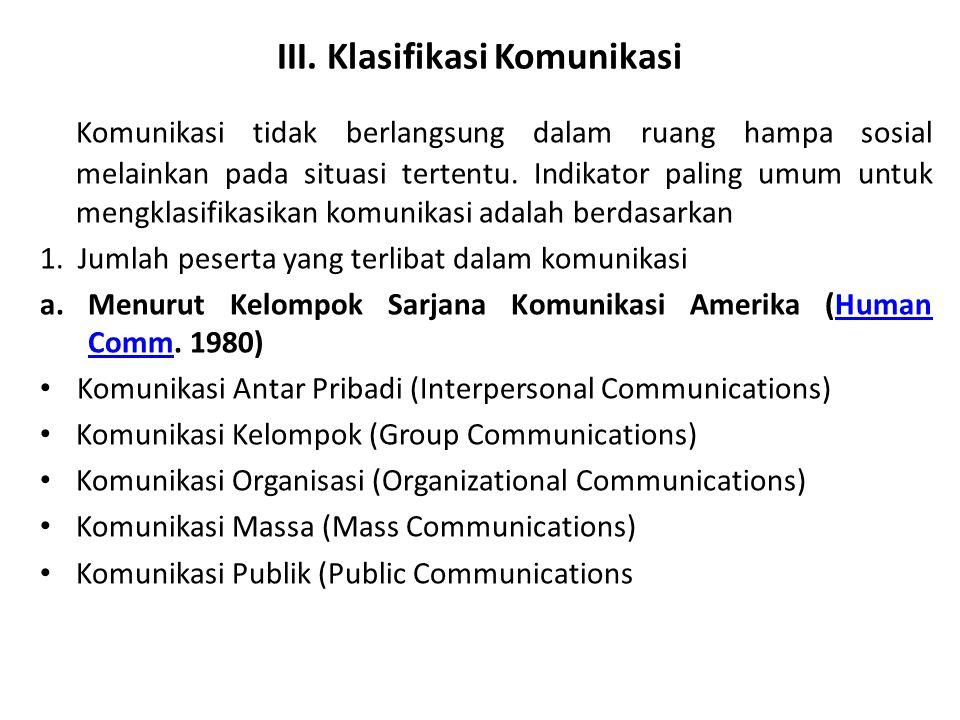 III. Klasifikasi Komunikasi
