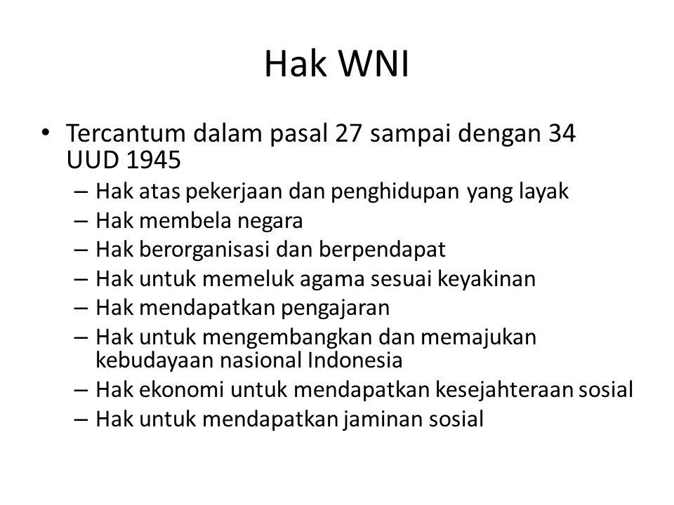 Hak WNI Tercantum dalam pasal 27 sampai dengan 34 UUD 1945