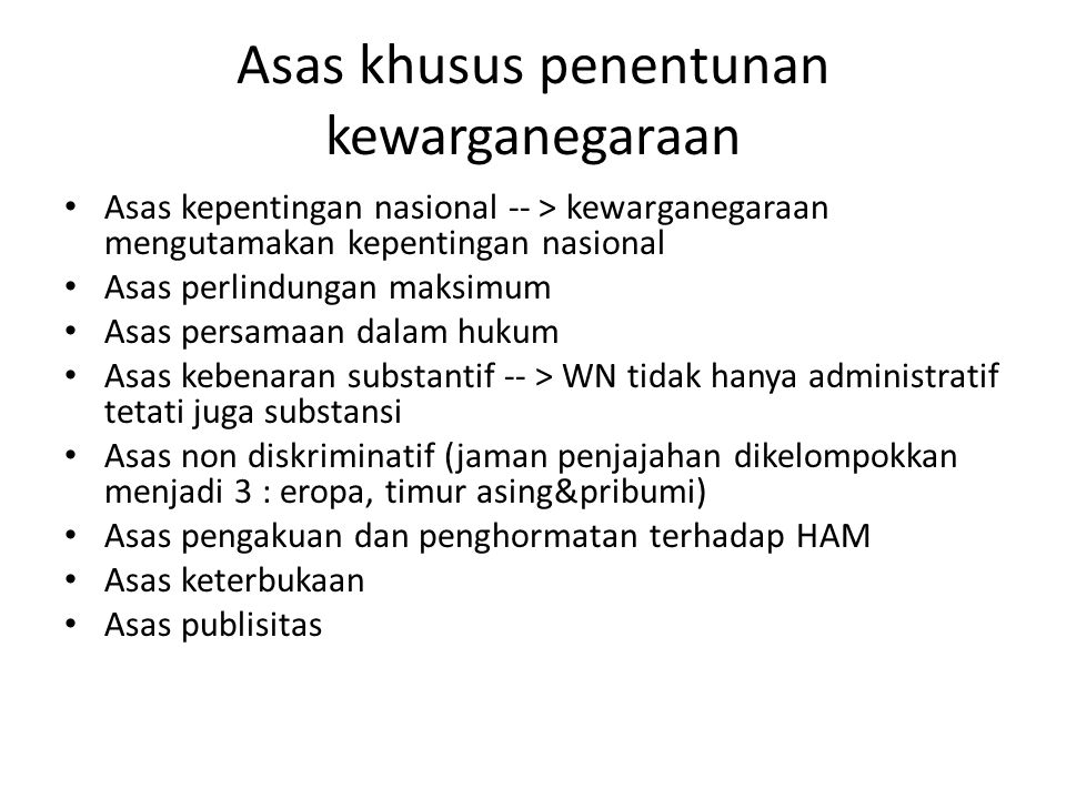 Asas khusus penentunan kewarganegaraan