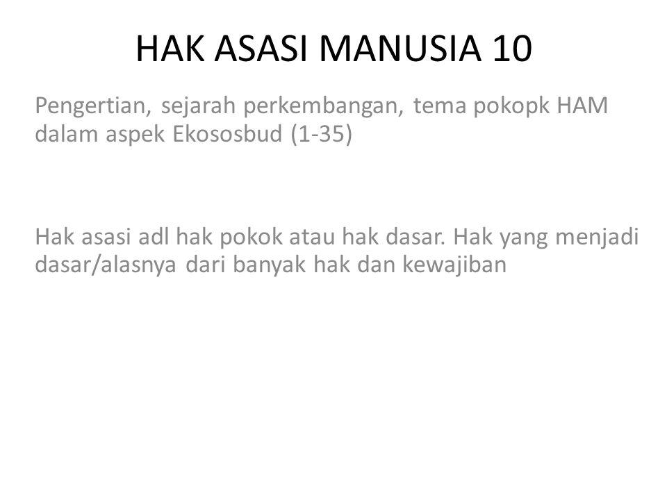 HAK ASASI MANUSIA 10 Pengertian, sejarah perkembangan, tema pokopk HAM dalam aspek Ekososbud (1-35)