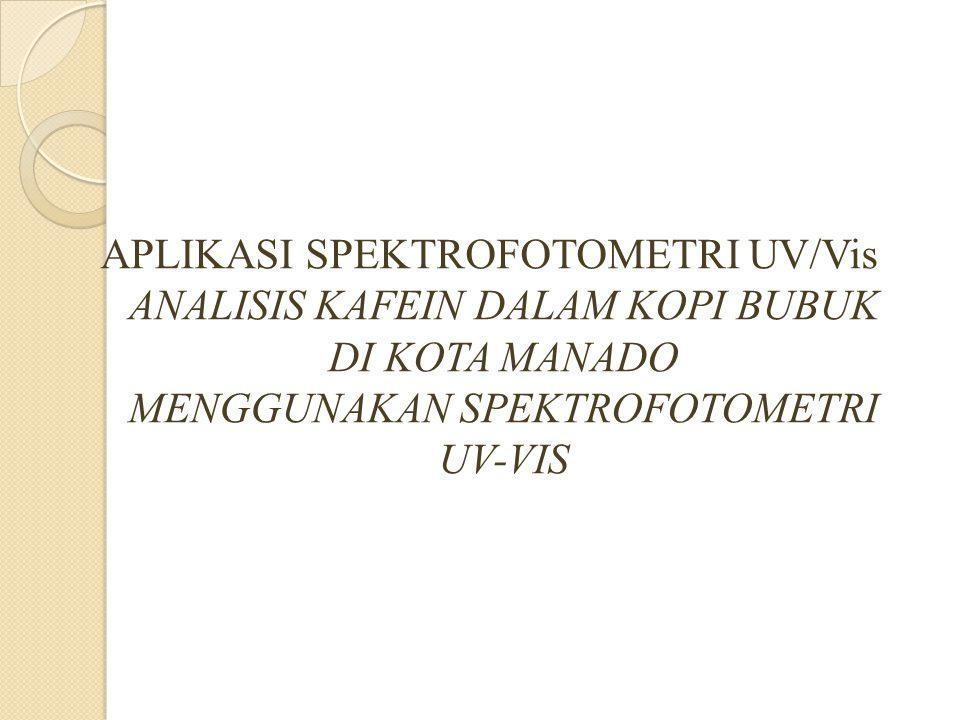 APLIKASI SPEKTROFOTOMETRI UV/Vis ANALISIS KAFEIN DALAM KOPI BUBUK DI KOTA MANADO MENGGUNAKAN SPEKTROFOTOMETRI UV-VIS