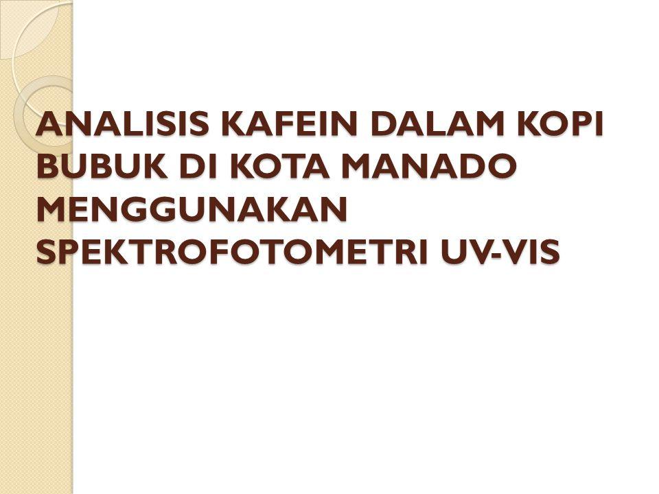 ANALISIS KAFEIN DALAM KOPI BUBUK DI KOTA MANADO MENGGUNAKAN SPEKTROFOTOMETRI UV-VIS
