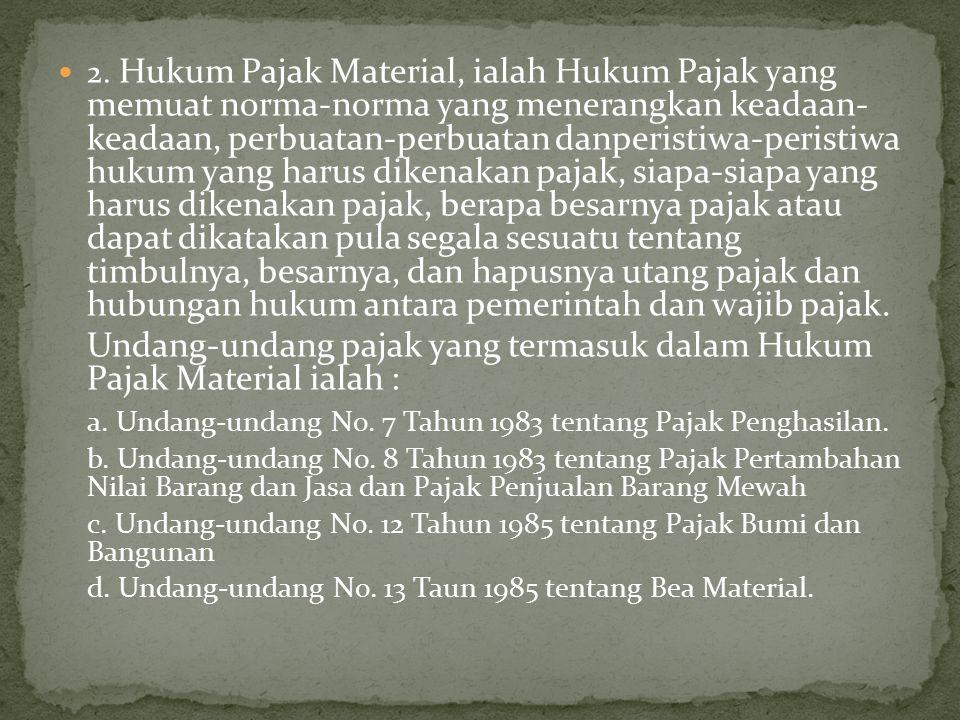 Undang-undang pajak yang termasuk dalam Hukum Pajak Material ialah :