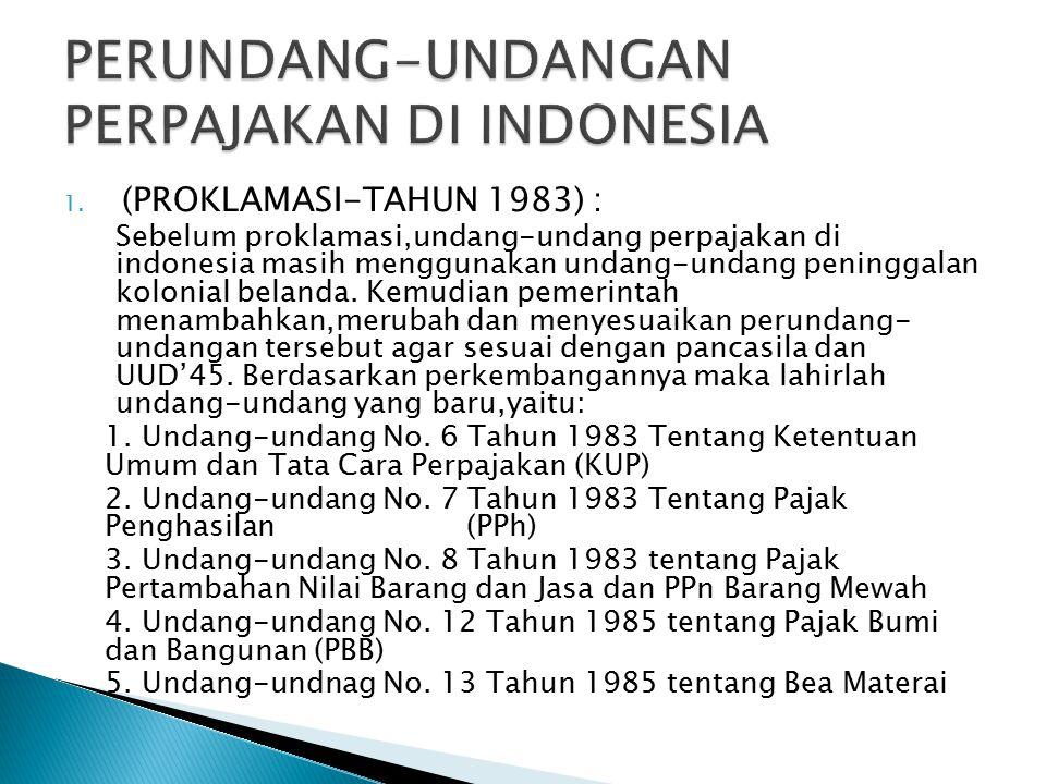 PERUNDANG-UNDANGAN PERPAJAKAN DI INDONESIA