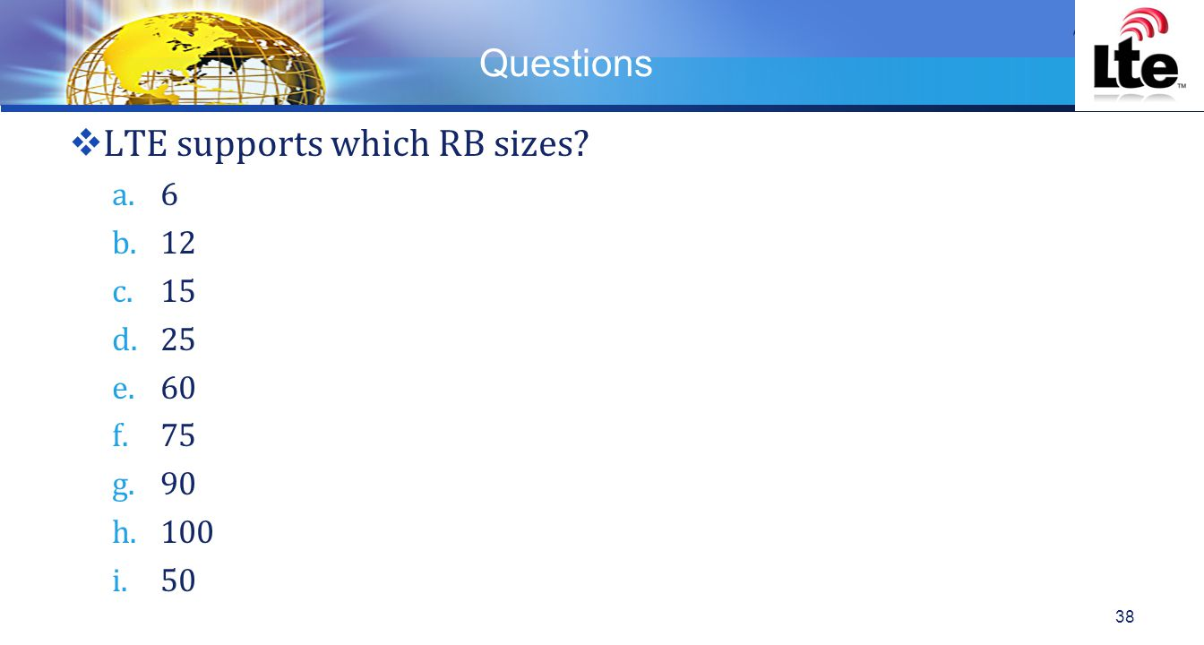 LTE supports which RB sizes