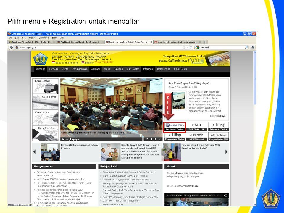 Pilih menu e-Registration untuk mendaftar