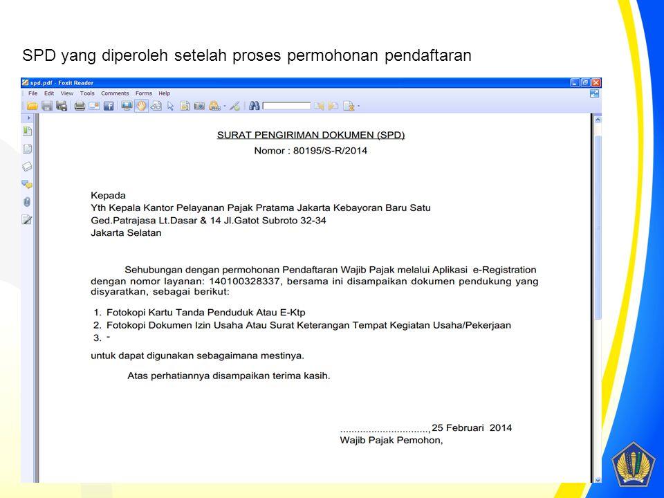 SPD yang diperoleh setelah proses permohonan pendaftaran