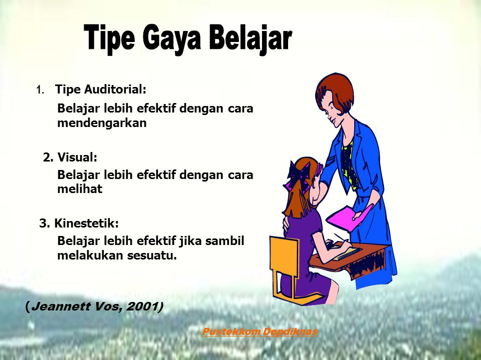 Tipe Gaya Belajar 1. Tipe Auditorial:
